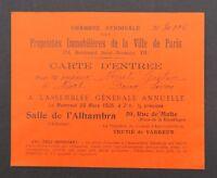 Carte d'entrée ALHAMBRA AG annuelle Propriétés Immobilières Ville de Paris 1925