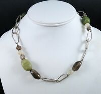 SILPADA 925 Sterling Silver Green Jade Smoky Rutilated Quartz Hammered Necklace