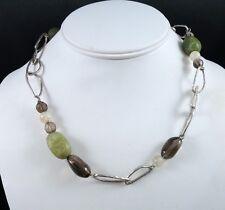 SILPADA 925 Sterling Silver Green Jade Smoky Rutilated Quartz Hammered Necklace