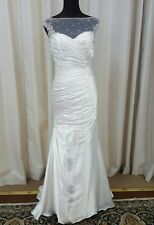 NEW Mori Lee Voyage Bridal 6777 Trumpet Satin Lace Wedding Dress White Sz 14
