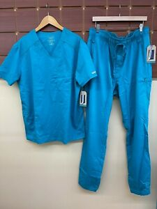NEW Men's Cherokee Teal Solid Scrubs Set With XL Top & XL Tall Pants NWT