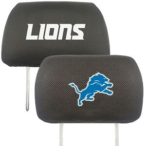 Fanmats NFL Detroit Lions 2-Piece Embroidered Headrest Covers Delivery 2-4 Days