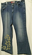 womens Lazer Jeans sz 18 embroidered flowers