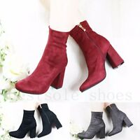 NEW WOMENS LADIES CHUNKY MID BLOCK HEEL ANKLE BOOTS ZIPPED BOOTS WORK SHOES SIZE