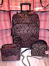 Victorias Secret Luggage Wheelie Jet Set W/Cross Body Purse & Train Case