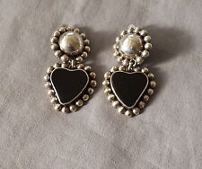 Vintage Mexican 925 Southwestern Satellite Dome Onyx Heart Drop Clip Earrings