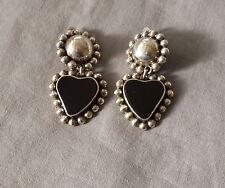 Vintage Mexican 925 Southwestern Satellite Dome Onyx Heart Drop Clip Earrings