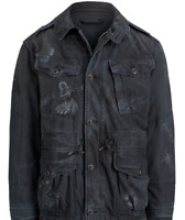 $495 Polo Ralph Lauren Mens Vintage Military Hawaii Stencil Black Bomber Jacket
