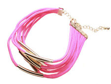Ladies flourecent Evidenziatore Neon rosa Braccialetto A ORO (zx63)