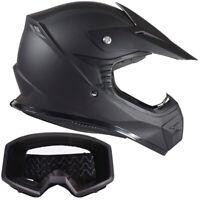 Youth Matte Black Kids Helmet Motocross Combo with Goggles DOT ATV UTV MX