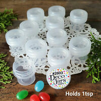 12 Vial clear Cap Pot JAR Bottle 1/4oz container Powder DecoJars #2803 USA