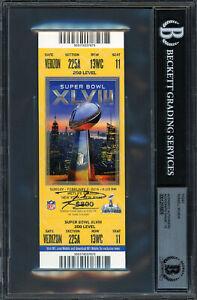 Russell Wilson Autographed Signed Super Bowl Ticket Gem 10 Auto Beckett 12516876