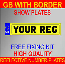 HIGH QUALITY REG NUMBER PLATES SHOW PLATES REAR YELLOW CAR VAN TOWING TRAILER