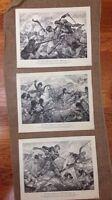 "Vintage Lot of 3 USA Printed 11""x14"" Seaforth Highlanders Drawings Art Prints"