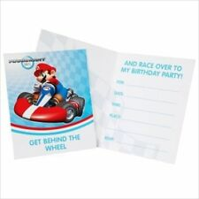 MARIO KART WII INVITATIONS (8) ~ Birthday Party Supplies Stationery Cards Notes