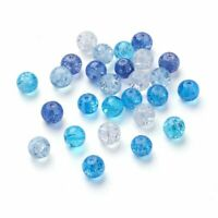 100pcs/bag Mixed Baking Painted Crackle Glass Bead Carribean Blue Round Jewelry