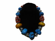 Handcrafted Berber Moroccan Blue stone Coral Amber Necklace