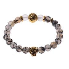 Men's Black Lava Stone Gold Lion Leopard Beaded Charm Bracelet Cheapest