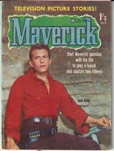 Australian Western Comic: Maverick #17 Jubilee 1961 Jack Kelly Photo Cover