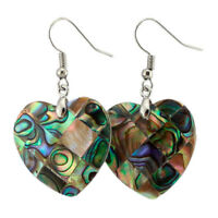 Love Heart Design Natural Abalone Shell Gemstone Silver Dangle Hook Earrings