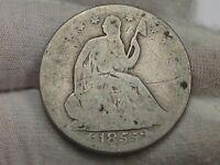 1855-o Seated LIBERTY Half Dollar.  #28