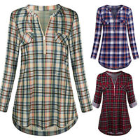 Women Casual Rolled Sleeve Zipped V-Neck Plaid Printed Shirt Tunic Tops Blouse P