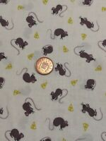 Lewis & Irene small things Mice 100% Cotton fabric quilting asm13 off - white