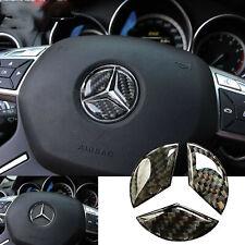 49mm Carbon Fiber Steering Wheel Center Insert Logo Sticker Trim For Mercedes