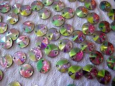 100 Pailletten-Glitzersteine,rund,bunt schimmernd,zum Aufnähen,14mm St70.3