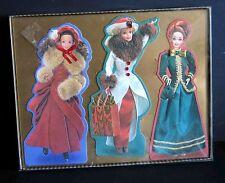 Hallmark Set 3 Barbie Embossed Victorian Christmas  Cards NIP FREE SH