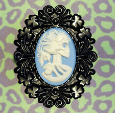 WHITE & BLUE BLACK BROOCH PIN CAMEO GOTHIC SKULL LADY B