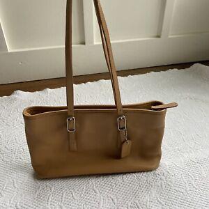 Coach Purse Handbag Shoulder Straps Barrel AWL British Tan Bag Silver Buckle