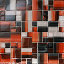 SAMPLE- Red Hand Painted Glass Pattern Mosaic Sink Wall Tile Kitchen Backsplash