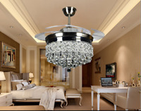 """42"""" Silver Crystal Ceiling Fan Chandelier w/ Led Light Remote Retractable Blades"""