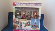 Kids II 2 NIB Button bears red blue teddy musical boy girl baby crib mobile 1998