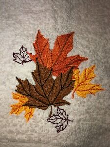 Embroidered Ivory Bathroom  Hand Towel  Colorful Fall Leaves HS1784