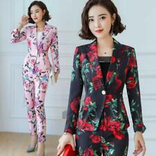 Women's Lapel Coat Slim Fit Printed Business Office Blazer Pants Floral Suits