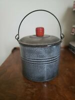 VTG RED HANDLE GREY GRANITEWARE 1QT BERRY BUCKET LUNCH PAIL ANTIQUE NICE SMALL