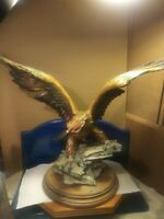 "Vintage Large Resin American Bald Eagle Standing On Rock By G ARMANI.""Beautiful"""
