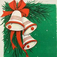 Vintage Mid Century Christmas Greeting Card Red White Bells Green Background