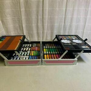 Pink Portable Watercolor Paints Pencils Crayons Complete Drawing Color Set
