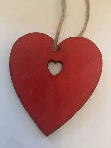 Red Wooden Heart hanging decoration Shabby Chic Rustic hand-crafted Valentine