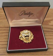 "Vintage estate rhinestone/gold roaring lion head pin 2"" dia Prestige handcrafted"