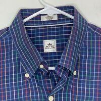 Peter Millar Mens Designer Shirt SS Blue Checked Large