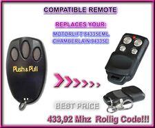 Motorlift 84335EML / Chamberlain 94335E compatible mando a destancia, 433,92Mhz