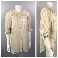 1980s Blouse / Creme and Black Polka Dot Shirt Top with Tie Sleeve / Large