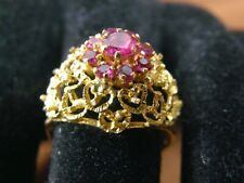 Antique Victorian - Georgian Fine 18K Gold Heart Filigree Natural Red Ruby Ring