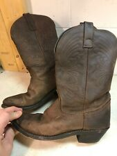 Women's Size 6 1/2 Brown Leather Cowboy Boot Medium Height Cut