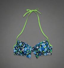 ABERCROMBIE & FITCH Women's Swimwear Bikini Top NAVY Floral Size M