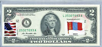 United States Currency Two Dollar Bill Federal Reserve Note Stamps Flag Mongolia